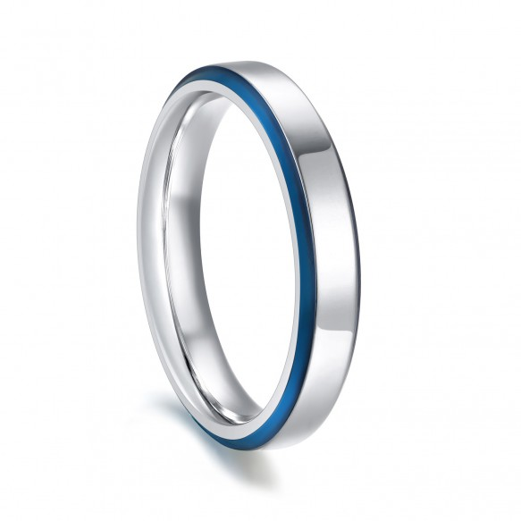 Stainless Steel Fashion Rings with Blue Beveled Edge