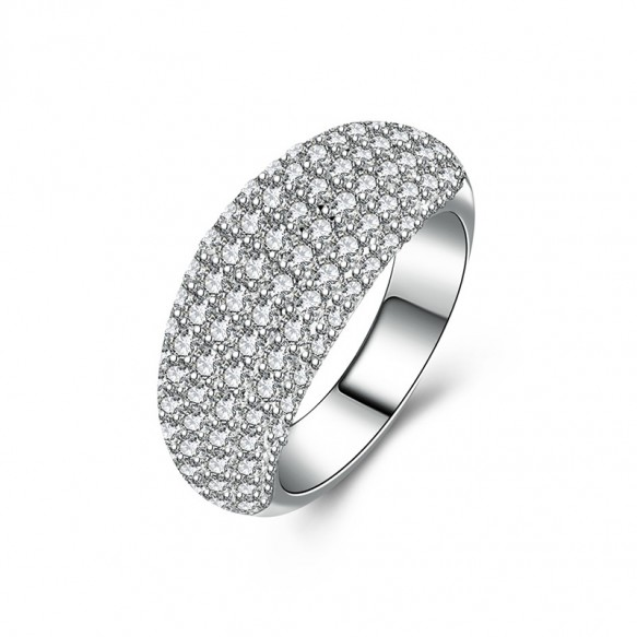 Domed 925 Sterling Silver Cubic Zirconia Wedding Bands