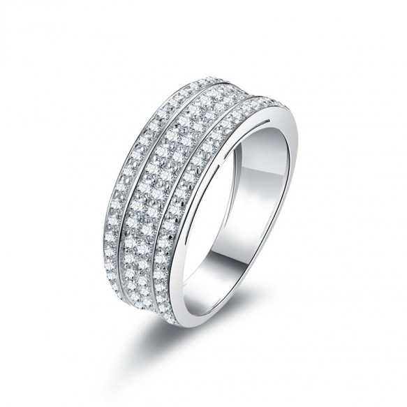 Sterling Silver Micro Pave Cubic Zirconia Wedding Bands 4 Rows