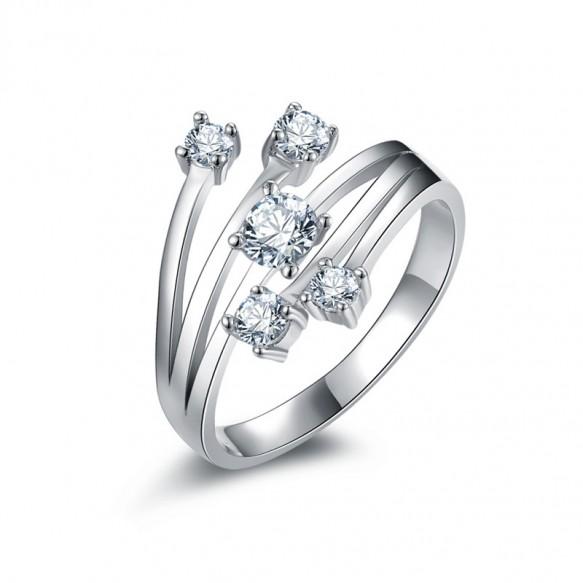 Sterling Silver Cz Engagement Ring Unique Design