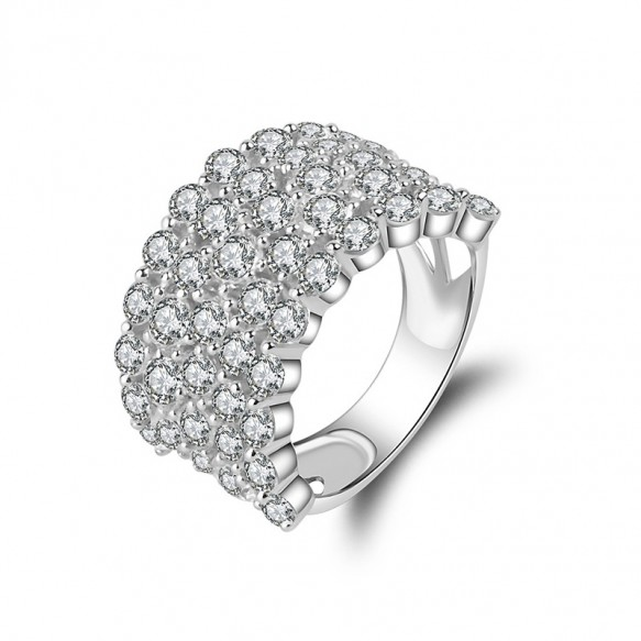 Cubic Zirconia Sterling Silver Wedding Bands 5 Row