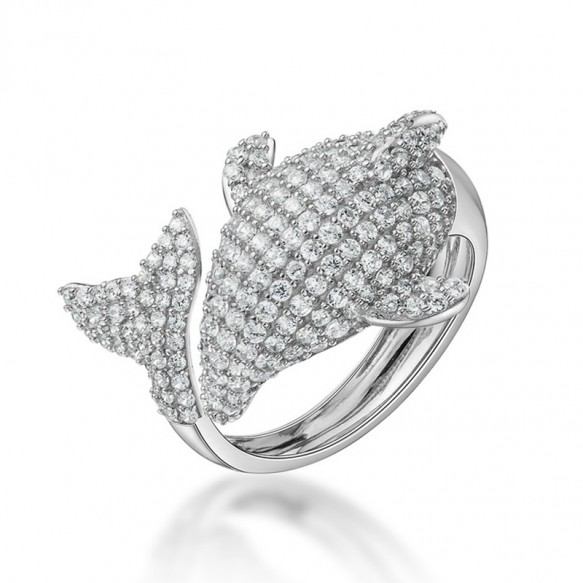 Sterling Silver Cubic Zirconia Dolphin Ring Vintage Animal Rings