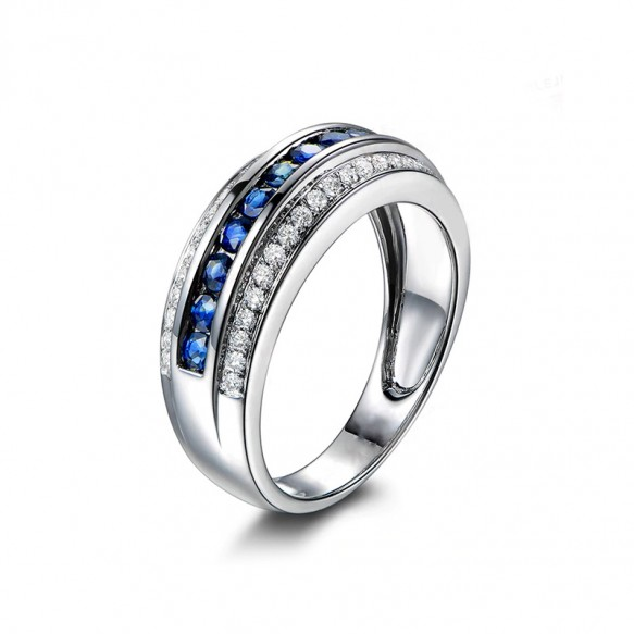 Sterling Silver Cz Wedding Band White Gold with Blue Stone