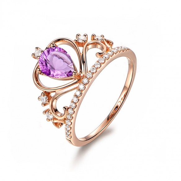 Amethyst Promise Rings Rose Gold Princess Ring