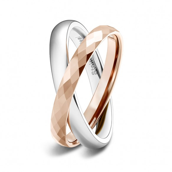 Rose Gold and Silver Interlocked Wedding Rings