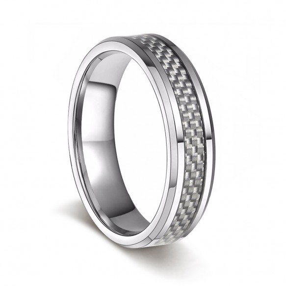 Simple Engagement Rings with White Carbon Fiber
