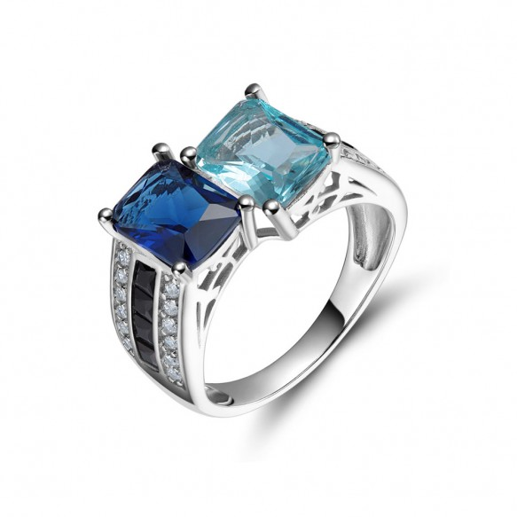 Vintage Sapphire Engagement Rings with Aquamarine