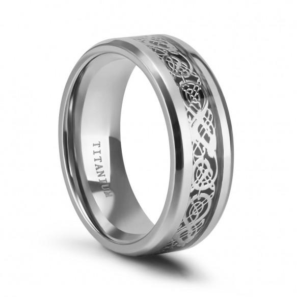 Silver Titanium Rings Celtic Dragon Designs 8mm
