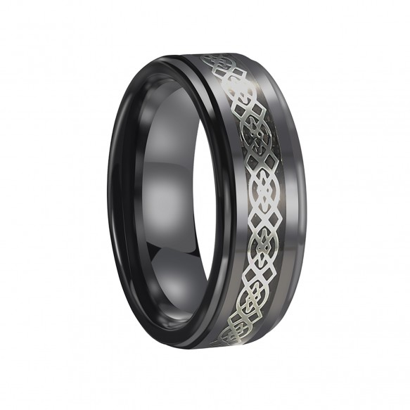 Ceramic Rings for Men Black with White Celtic Knot Inlaid