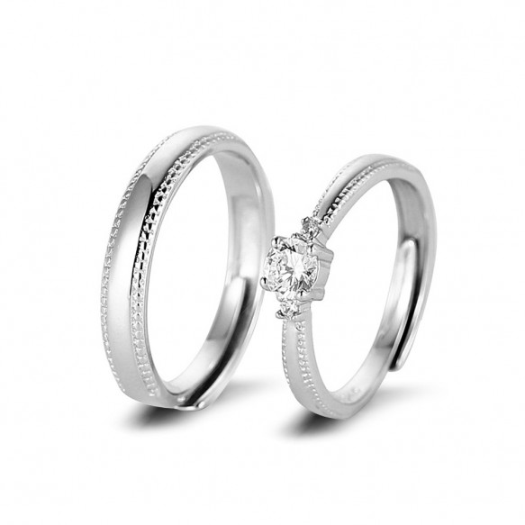 Adjustable Sterling Silver Cz Couple Rings for him and her