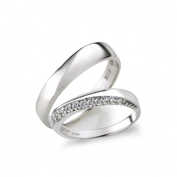 Promise Sterling Silver Ring with CZ for her and him
