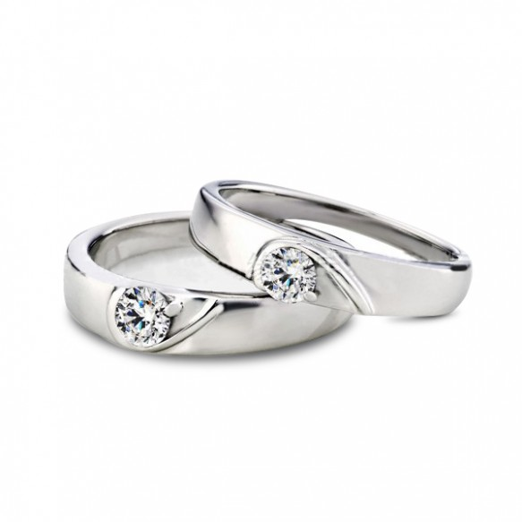 Half Heart Love Sterling Silver Couple Engagement Rings