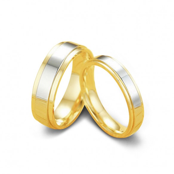 Gold Stainless/Titanium Steel Couple Rings with Silver Center 4mm 6mm