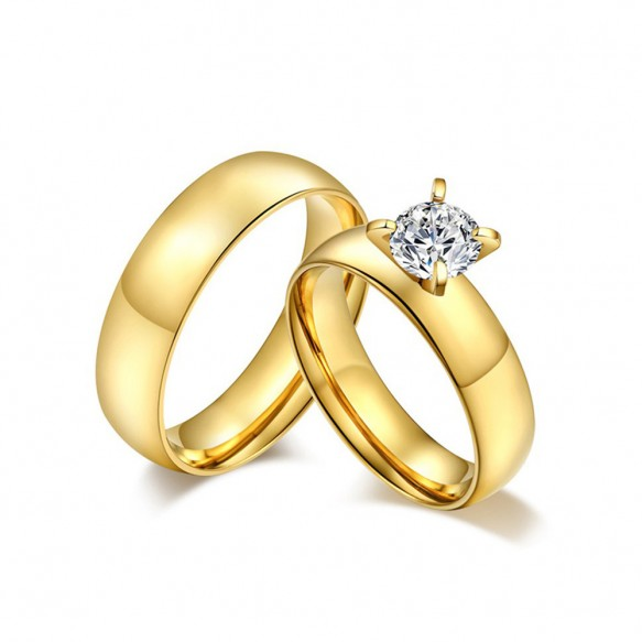 Gold Couple Promise Ring Sets in Stainless/Titanium Steel