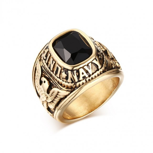 Eagle Pattern Gold Mens Stainless Steel Rings US Navy Rings