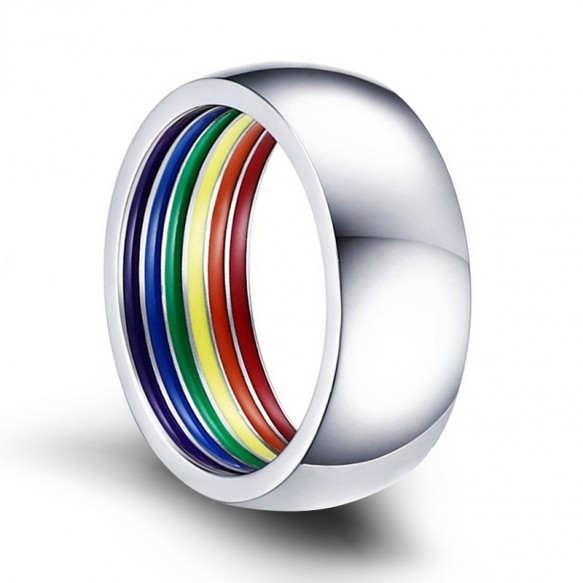 Silver Stainless Steel Rainbow Rings Domed