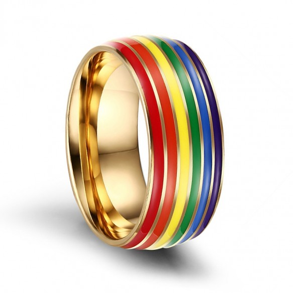 LGBT Rainbow Stainless Steel Rings with Gold Plated