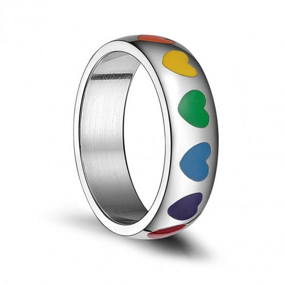 Heart Rainbow Enamel Ring in Stainless Steel Gay Lesbian Pride Jewelry