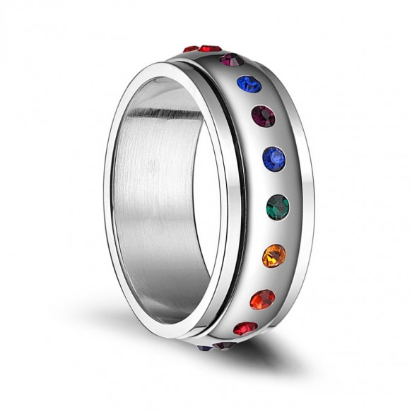 Stainless Steel Rotatable Rainbow Rings with CZ LGBT