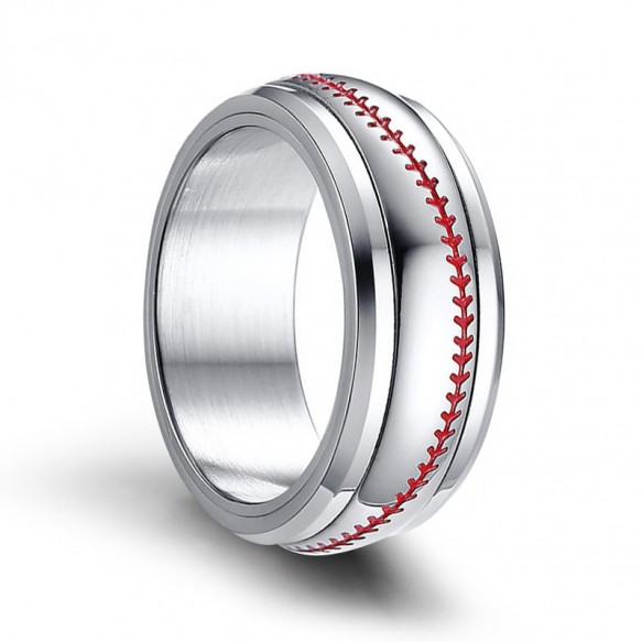 Spinner Stainless Steel Rings with Red Baseball Stitching Pattern