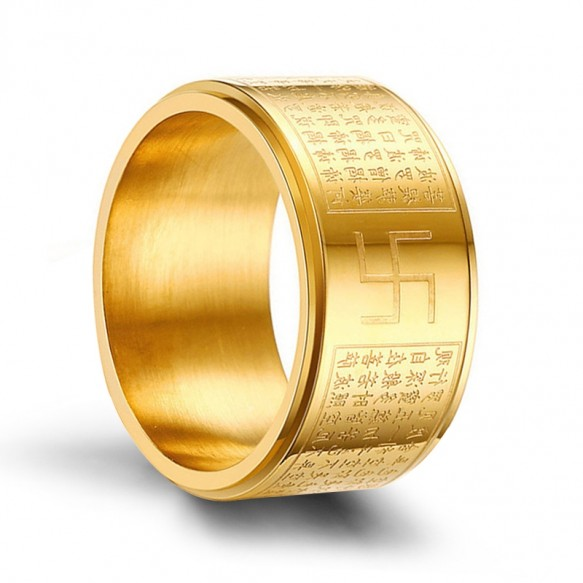 Gold Stainless Steel Religious Rings Chinese Buddhism