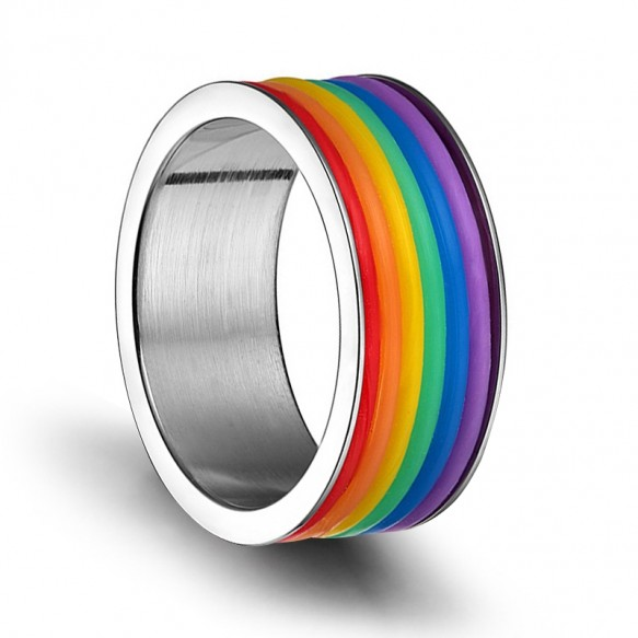 Flat Silver Stainless Steel Rainbow Rings LGBTQ