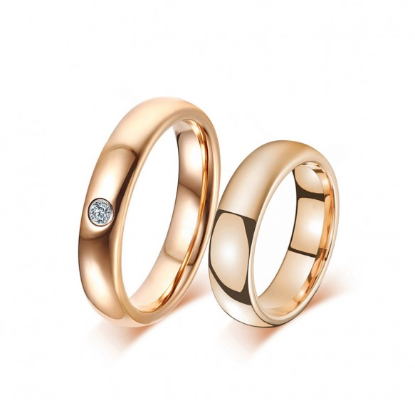 Rose Gold Tungsten Couple Rings with CZ