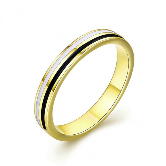Simple Sterling Silver Wedding Bands with Gold Plated