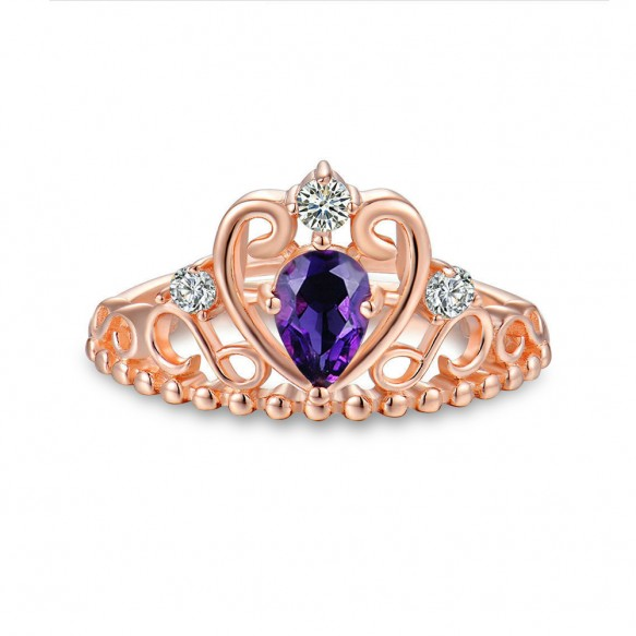 Rose Gold Natural Amethyst Sterling Silver Princess Crown Rings