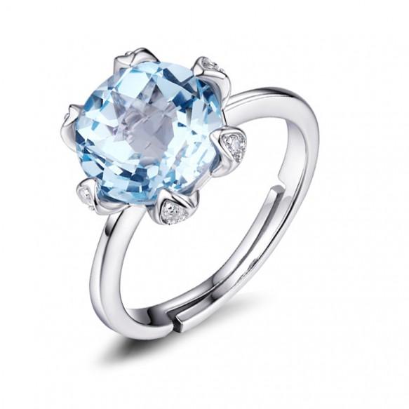 Adjustable Natural Blue Topaz Wedding Rings Flower Style