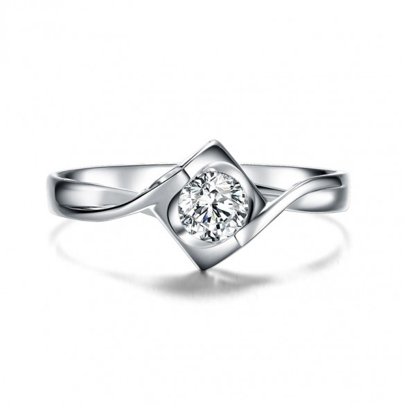 Round Cut Sterling Silver CZ Rings Angel Kiss Style