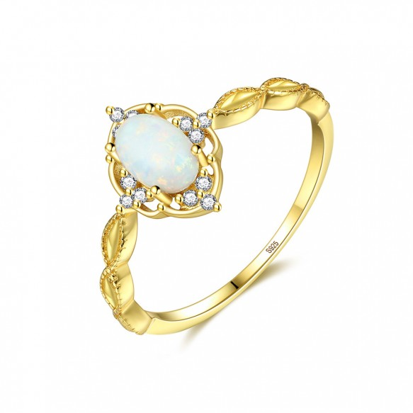 White Fire Opal Halo Ring Promise Rings for her