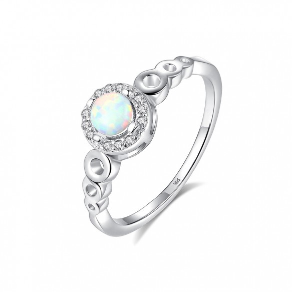 Opal Wedding Ring with Cubic Zirconia Antique Style