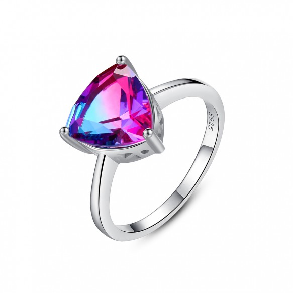 Colorful Engagement Rings Triangle Vintage Style