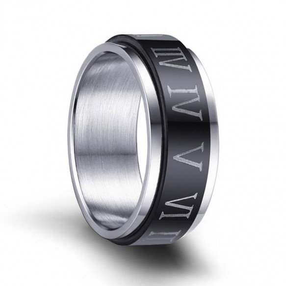 Black Stainless Steel Rotatable Rings with Roman Numerals