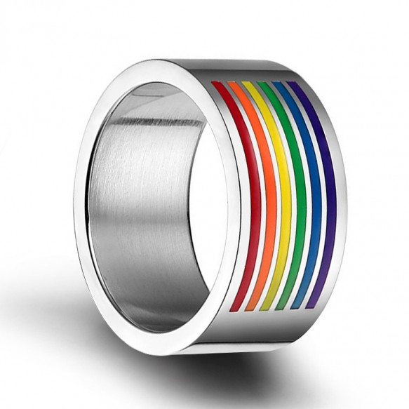 Rainbow Rings Flat Lesbian & Gay Stainless Steel Ring