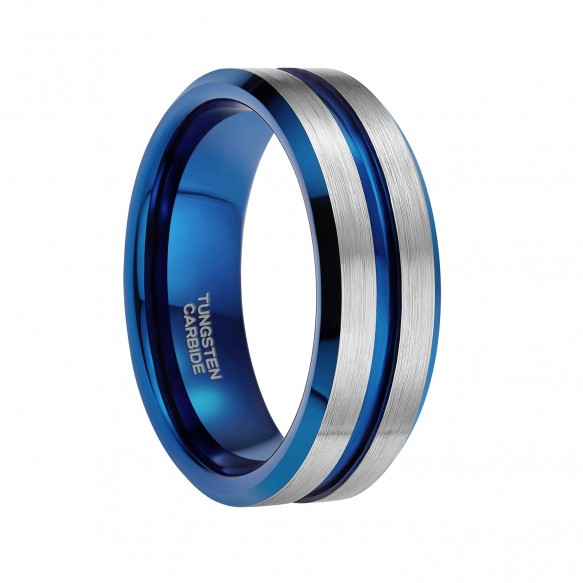 Silver Engagement Rings with Blue Grooved