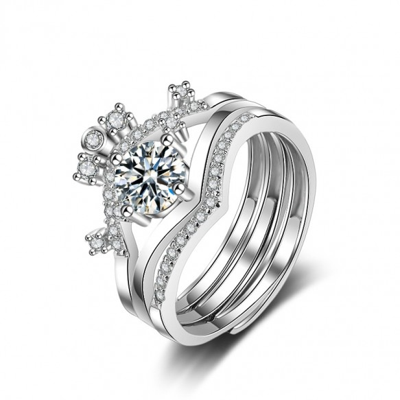 Sterling Silver Crown Rings Set Stackable Rings