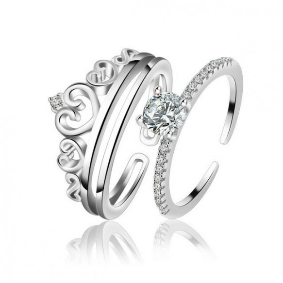 Sterling Silver Crown Stacking Rings Set