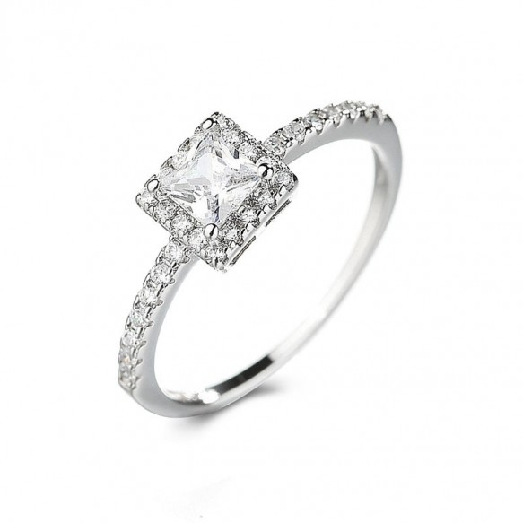 Princess Cut Cubic Zirconia Engagement Rings in Sterling Silver