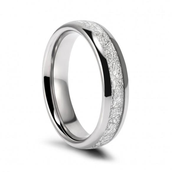 Meteorite Tungsten Ring High Polished Edge 8mm