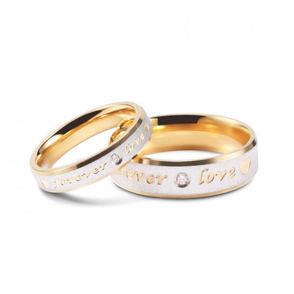 Couple Promise Ring Sets Forever Love in Titanium/Stainless Steel