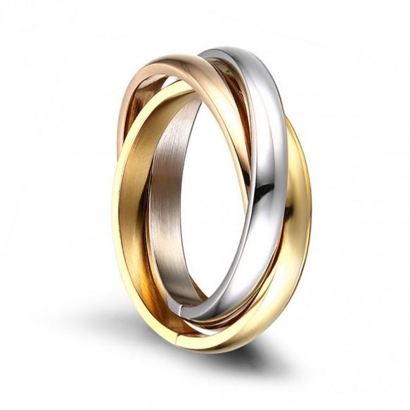 Mens Womens Stainless Steel Rings Tri Color Interlocked