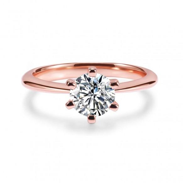 Rose Gold Round Engagement Ring in Sterling Silver