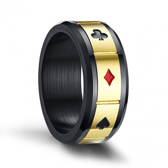 Black and Gold Stainless Steel Rings Spinner Playing Cards