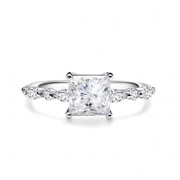Princess Cut Engagement Ring in 925 Sterling Silver