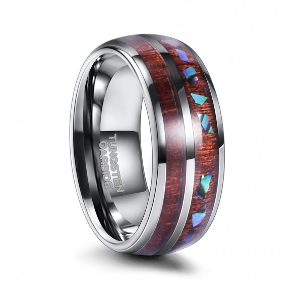 Hawaiian Koa Wood and Crushed Opal Black Tungsten Rings