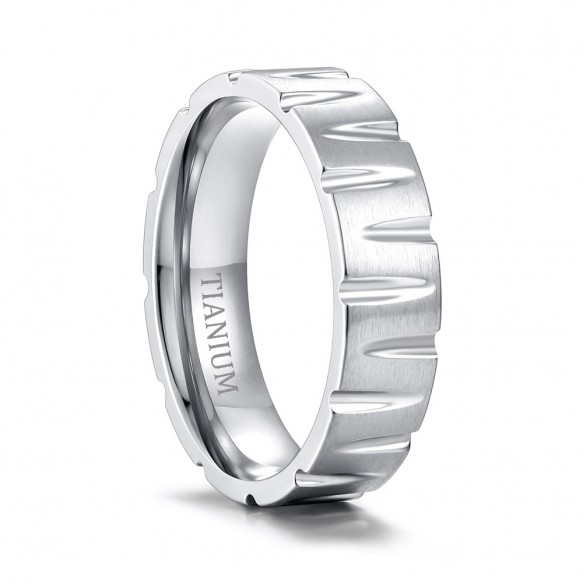 Tapered Grooves Titanium Steel Rings