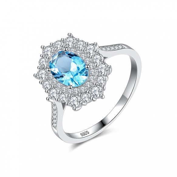 Blue Topaz Promise Rings Antique Sterling Silver Rings