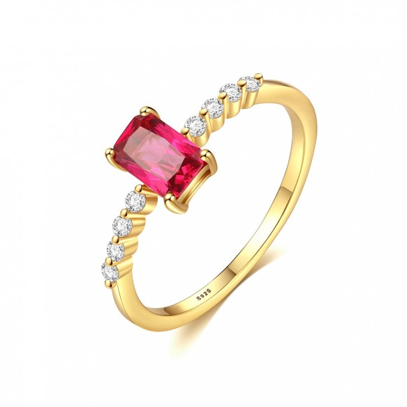 Pink Stones Engagement Rings Gold Plated with CZ
